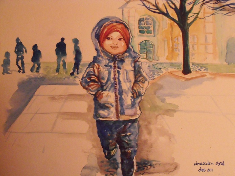 Acquarelle Painting: December Stroll