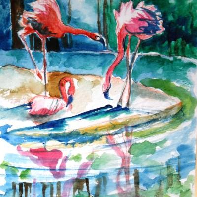 Flamingos watercolor Nyx Martinez