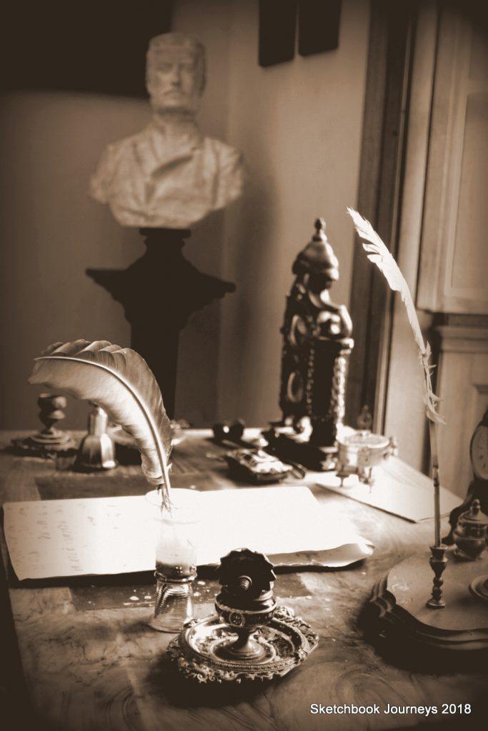The writing desk at Chateau Potštejn. Credit: Sketchbook Journeys
